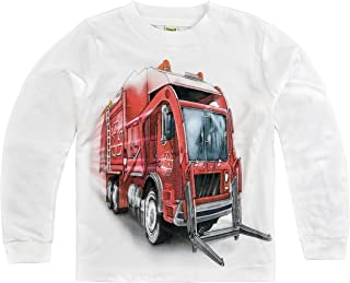 product image for Shirts That Go Little Boys' Long Sleeve Big Red Garbage Truck T-Shirt
