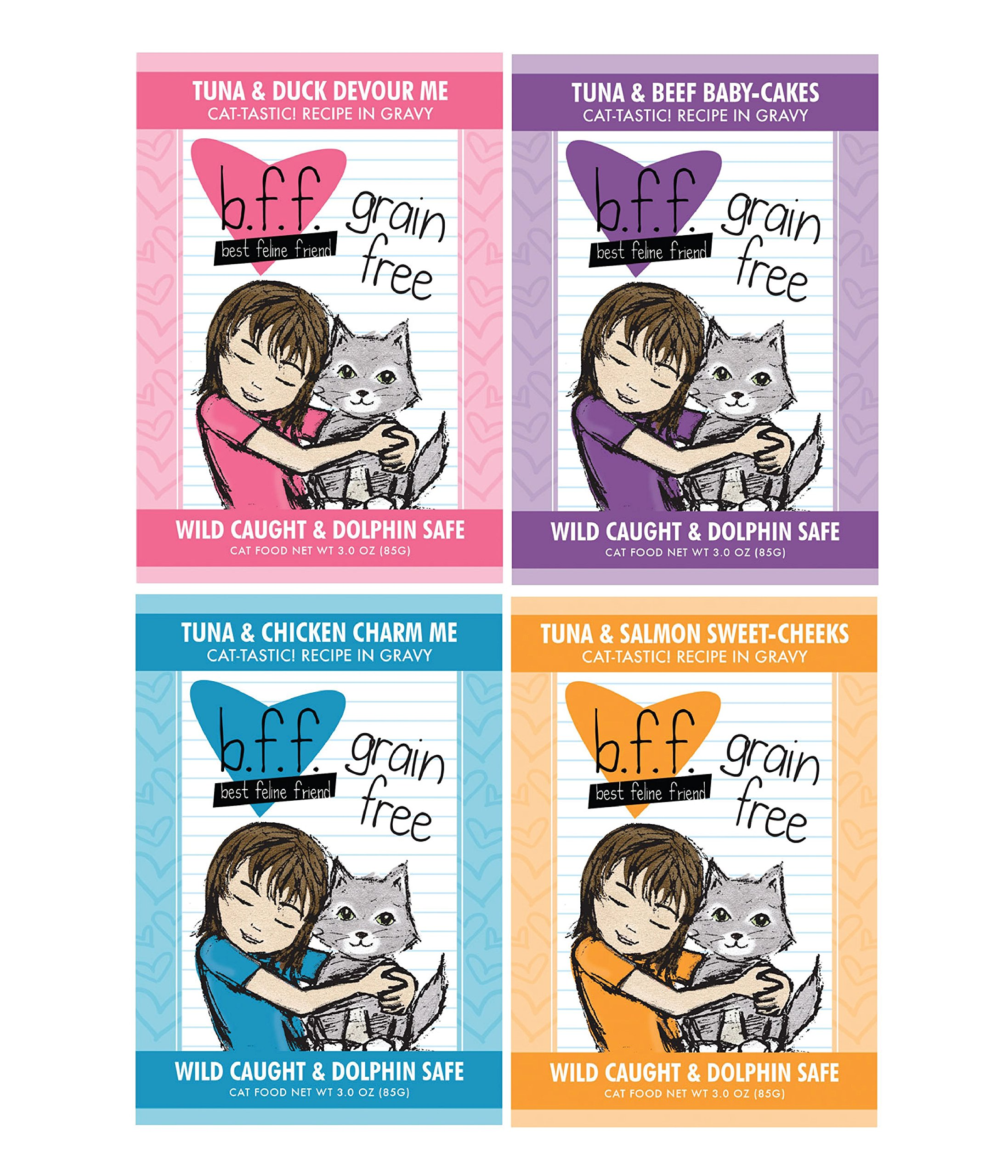 BFF 3 Oz Cat Food Variety 12 Pouches with 4 Flavors – Devour Me, Baby-Cakes, Charm Me, and Sweet-Cheeks