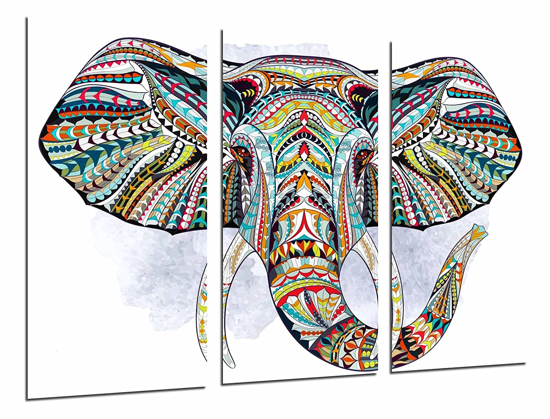 Cuadros Camara MULTI Wood Printings Art Print Box Framed Picture Wall Hanging - Decoration Mandala Animal Elephant, Wallpaper White, (Total Size: 38,2