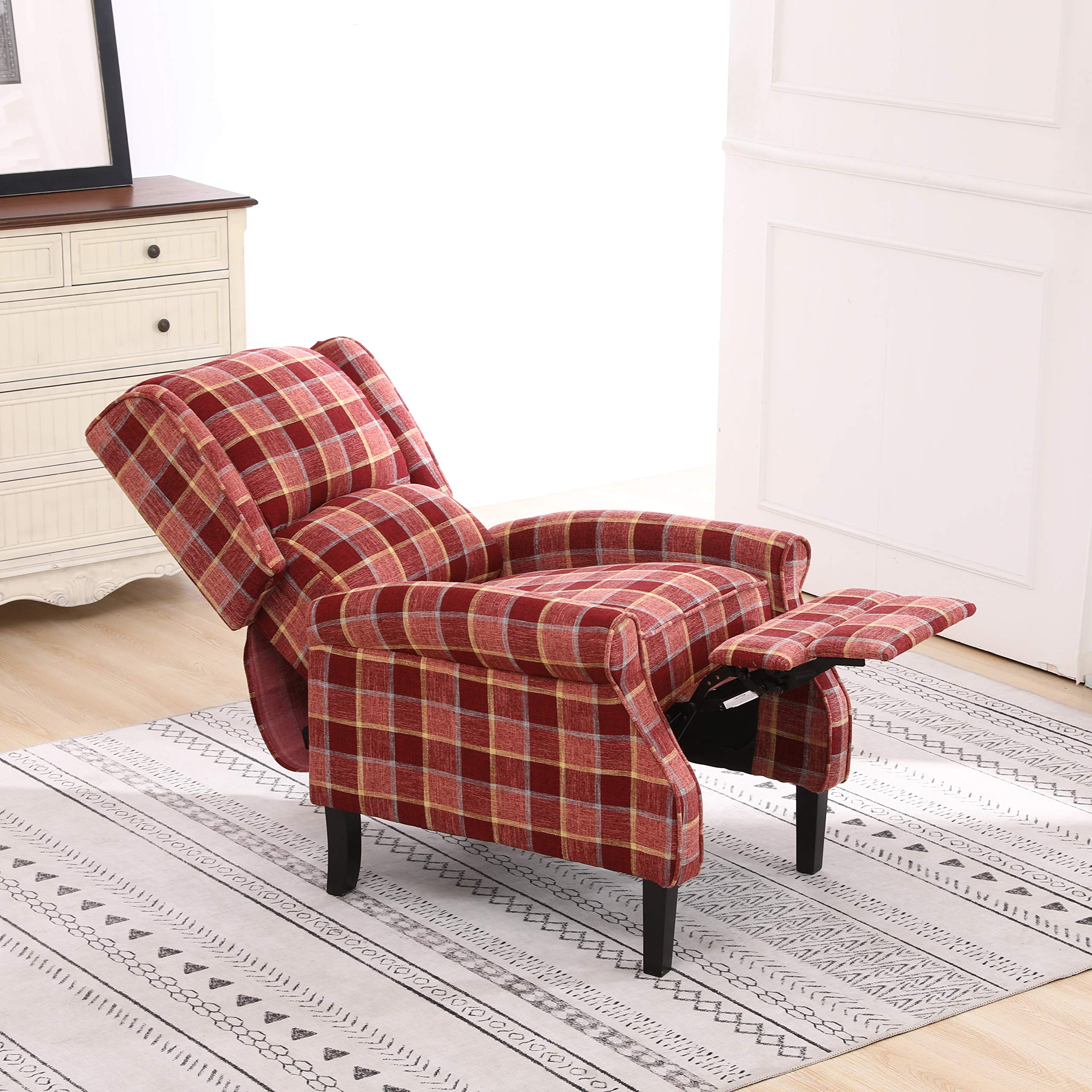 Neo® Fabric Tartan Check Wing Back Recliner Upholstered Armchair Accent Sofa Chair (Red)