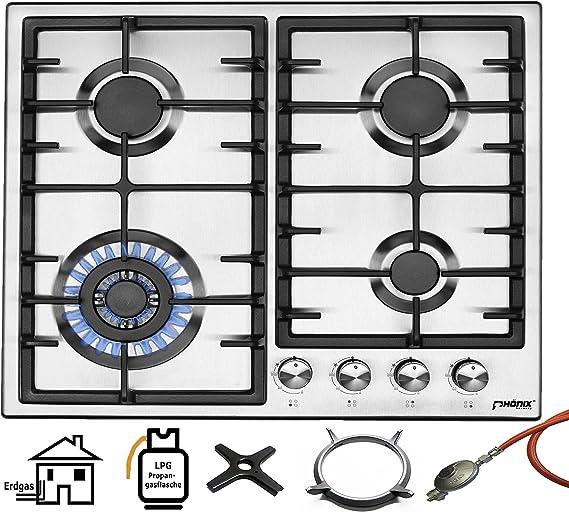Phönix PS-603T - Cocina de gas de acero inoxidable con 4 placas de cocción de gas propano/gas natural, con juego regulador de manguera de gas para ...
