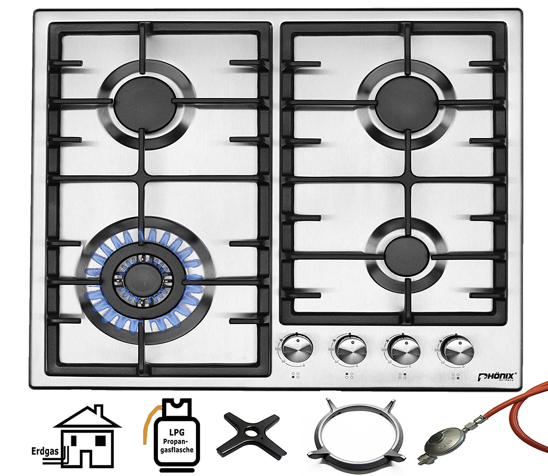 Phönix PS-603T Einbau Gaskochfeld Edelstahl Gaskocher 4 Kochplatten Propan-/ Erdgas inkl. Gasschlauch-Regler Set für Propangasflaschen + Guss WOK Aufsatz + Herdkreuz Phönix Germany