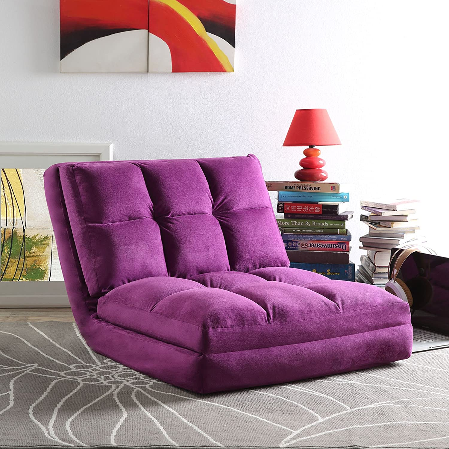 Loungie Micro Suede 5 Position Adjustable Convertible Flip Chair, Sleeper Dorm Bed Couch Lounger Sofa, Purple