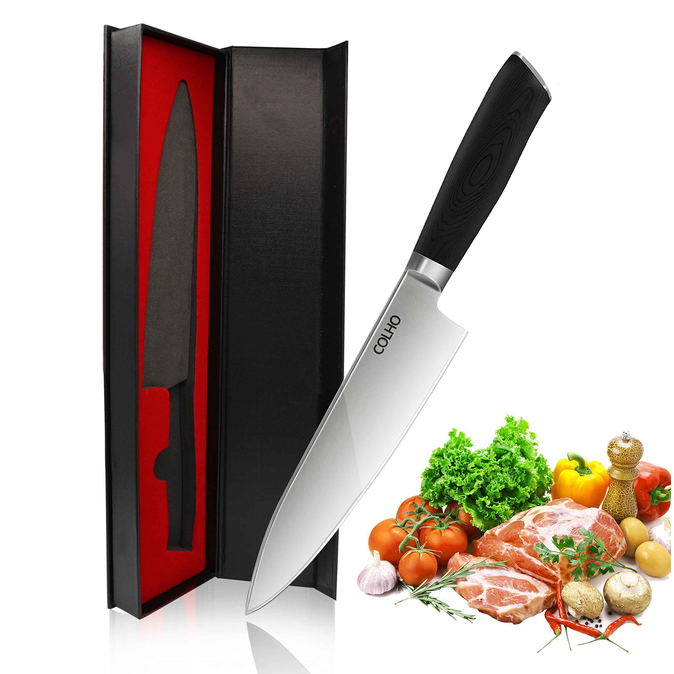 COLHO 8 inch Chef Knife, Dishwasher Safe Ergonomic G10 Handle, Pro Kitchen Knife High Carbon Stainless Steel Sharp Knives Blade