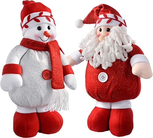 Babbo Natale Peluche.Werchristmas In Piedi Babbo Natale E Pupazzo Di Neve Colore Rosso Bianco Set Di 2 Tessuto Multicolour Large Amazon It Casa E Cucina