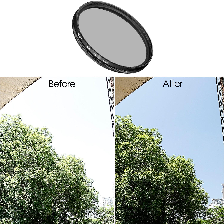 en HD en Verre Optique et Cadre en Alliage daluminium Neewer 58/mm Ultra Fin Filtre CPL polarisant Circulaire Objectif Filtre pour Canon EOS Rebel T6i T6/T5i T5/T4i T3i SL1/DSLR Camera
