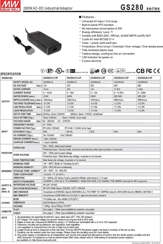 MW Mean Well GS280A15-C4P 15V 16A 240W AC-DC Green Industrial Adaptor