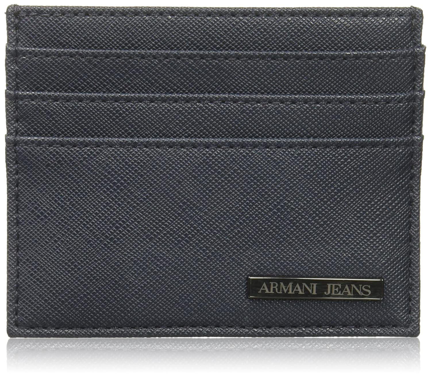 Armani Jeans Men's Saffiano Embossed Credit Card Holder Black One Size 938548CC9910020