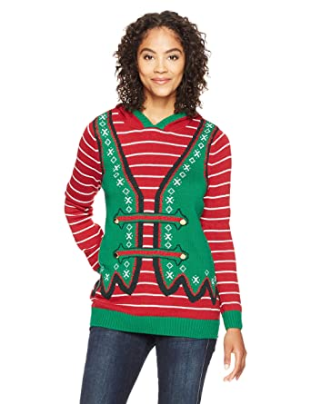 7b289228b0e Ugly Christmas Sweater Company Women s Hoodie Elf with Ears   Pom Pom at  Amazon Women s Clothing store