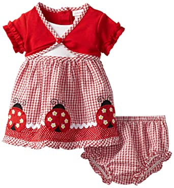 Amazon Com Youngland Baby Girls Seersucker Ladybug Dress Red 24