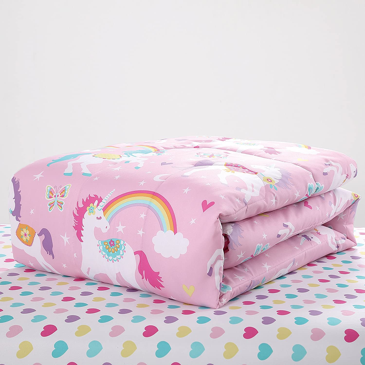 Super Soft Pink Fun and Whimsical Mainstays Kids Rainbow Unicorn With Images of Unicorns Cute Butterflies and Rainbows Girls Bed in a Bag Complete Bedding Set Twin