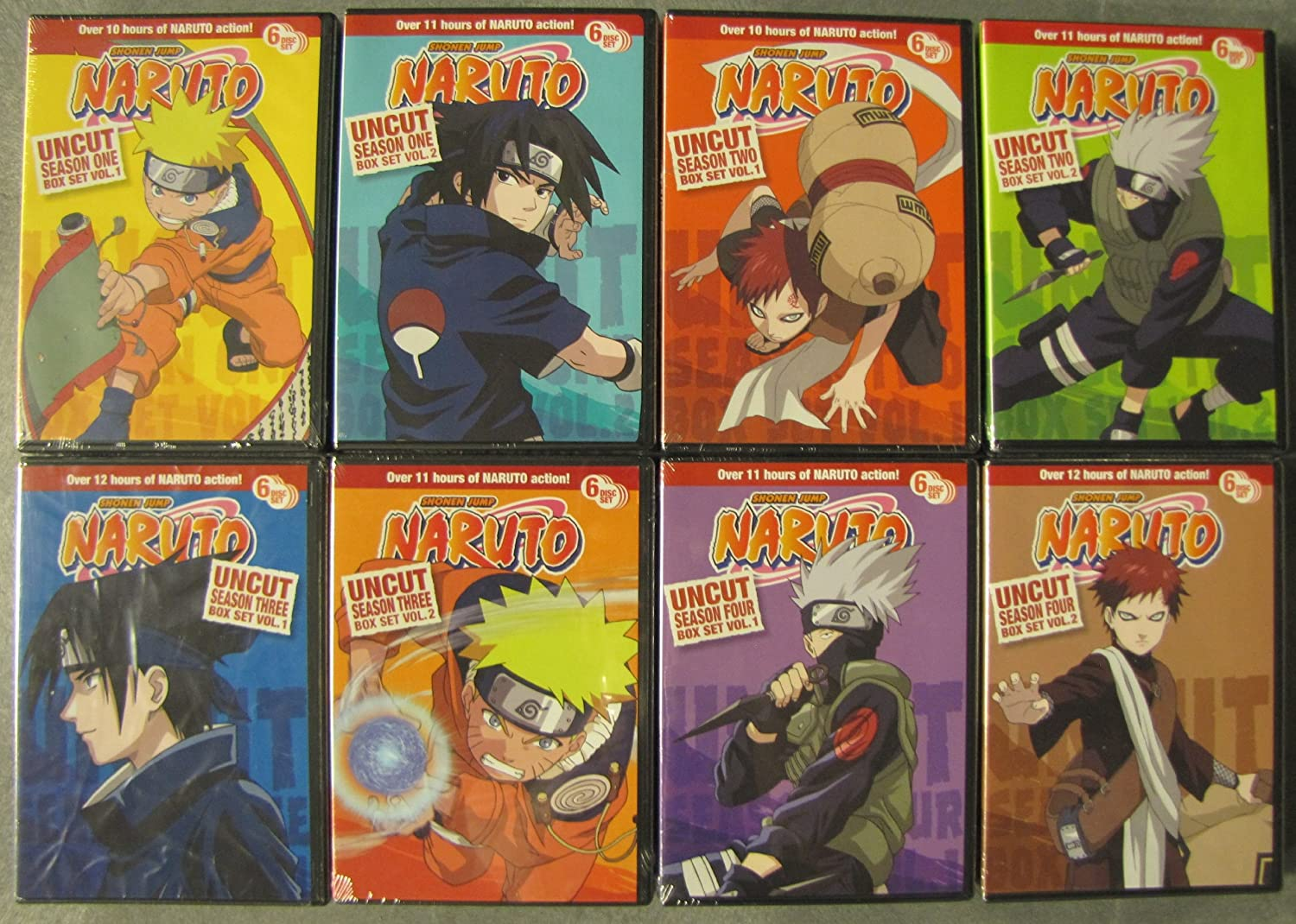 amazon com naruto uncut complete seasons 1 4 8 box set pack 220