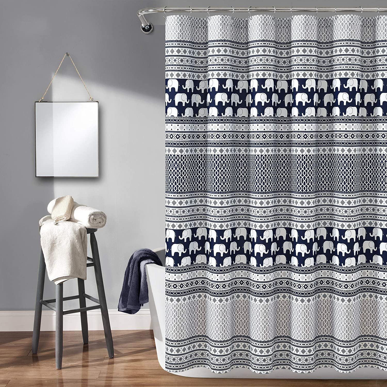 "Lush Decor Elephant Stripe Shower Curtain - Fabric Geometric Animal Print Design, 72"" x 72"", Navy"
