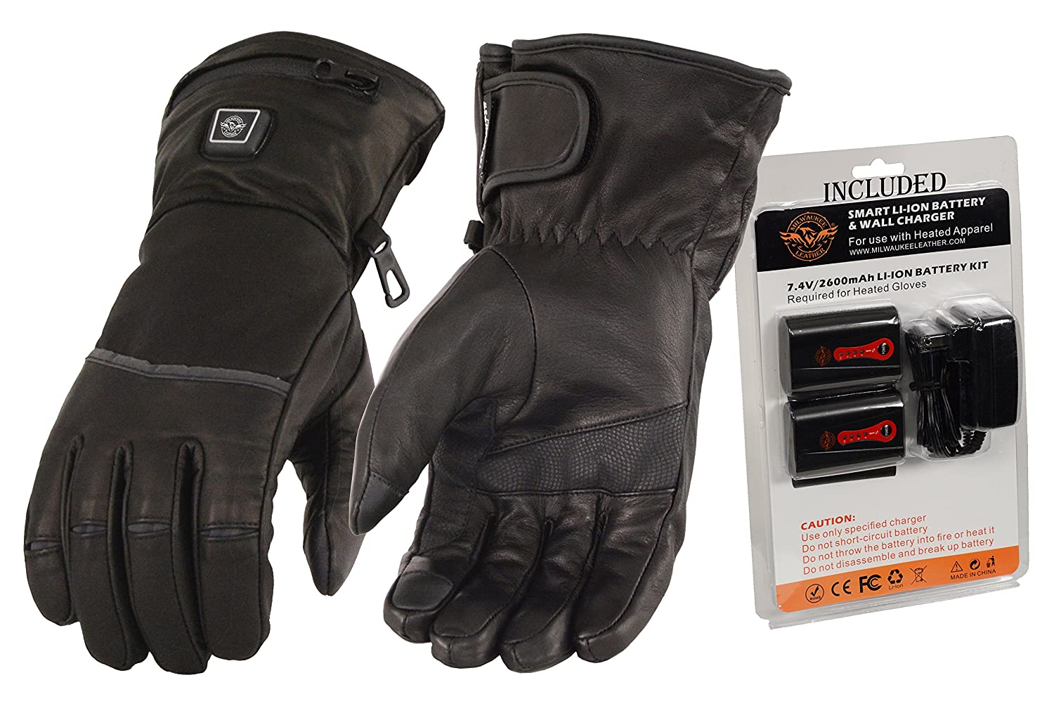 Milwaukee Leather-Men' s Heated Gantlet Glove w/Touch screen-BATTERY PACK INCLUDED-BLACK-X-LARGE MG7513-SET-BLACK-XL