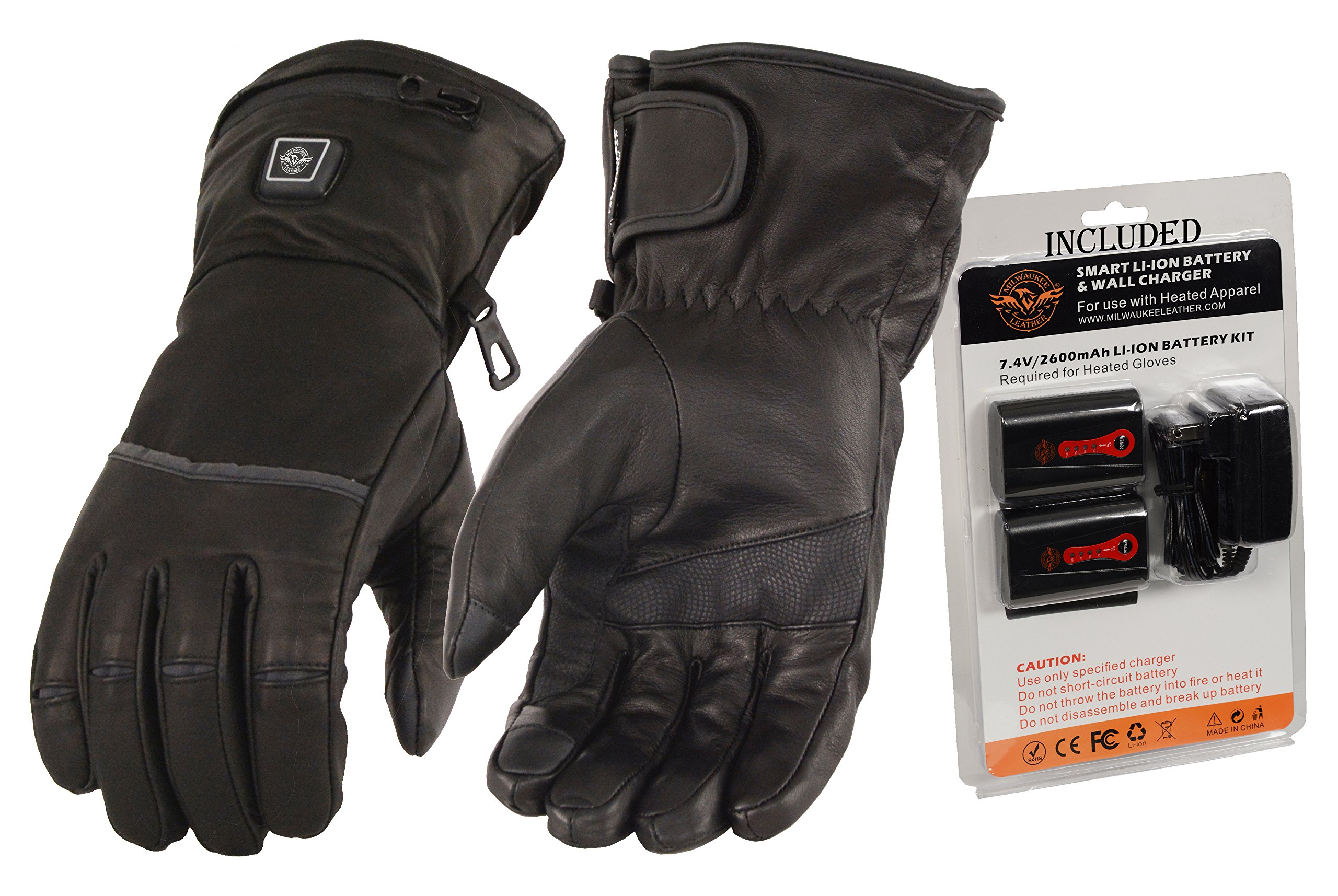Milwaukee Leather-Men's Heated Gantlet Glove w/Touch screen-BATTERY PACK INCLUDED-BLACK-MEDIUM