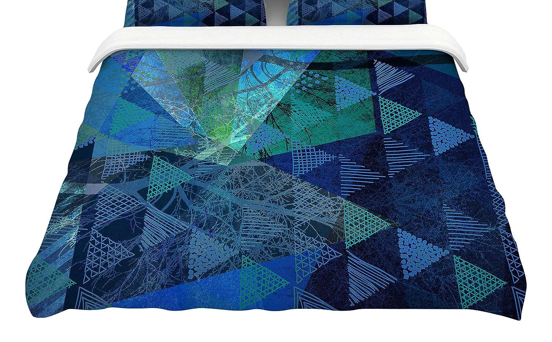 Kess InHouse Pia Schneider Triangles Blue Melange King Cotton Duvet Cover 104 x 88 104 x 88