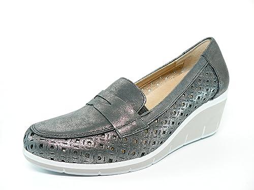 Zapato casual mujer tipo mocasin en piel perforada Gris de la marca PITILLOS cuña con plataforma - 1023 - 555: Amazon.es: Zapatos y complementos
