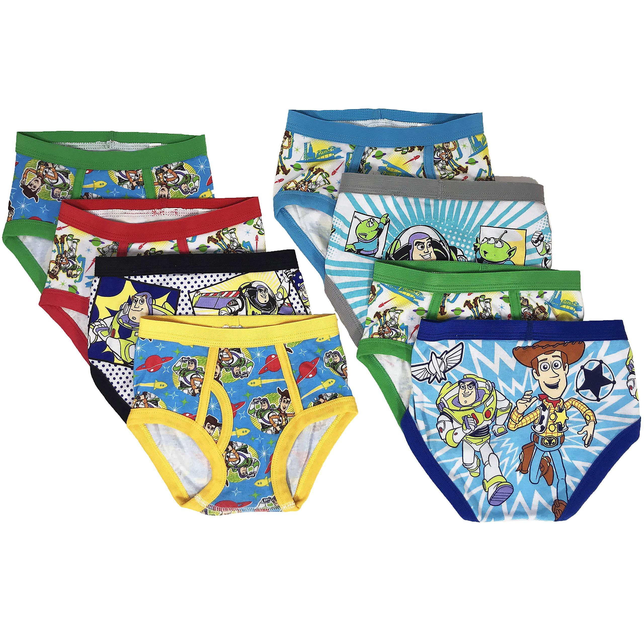 Toy Story Boys Kids Underwear - 8-Pack Toddler/Little Kid/Big Kid Size Briefs Woody Buzz Lightyear