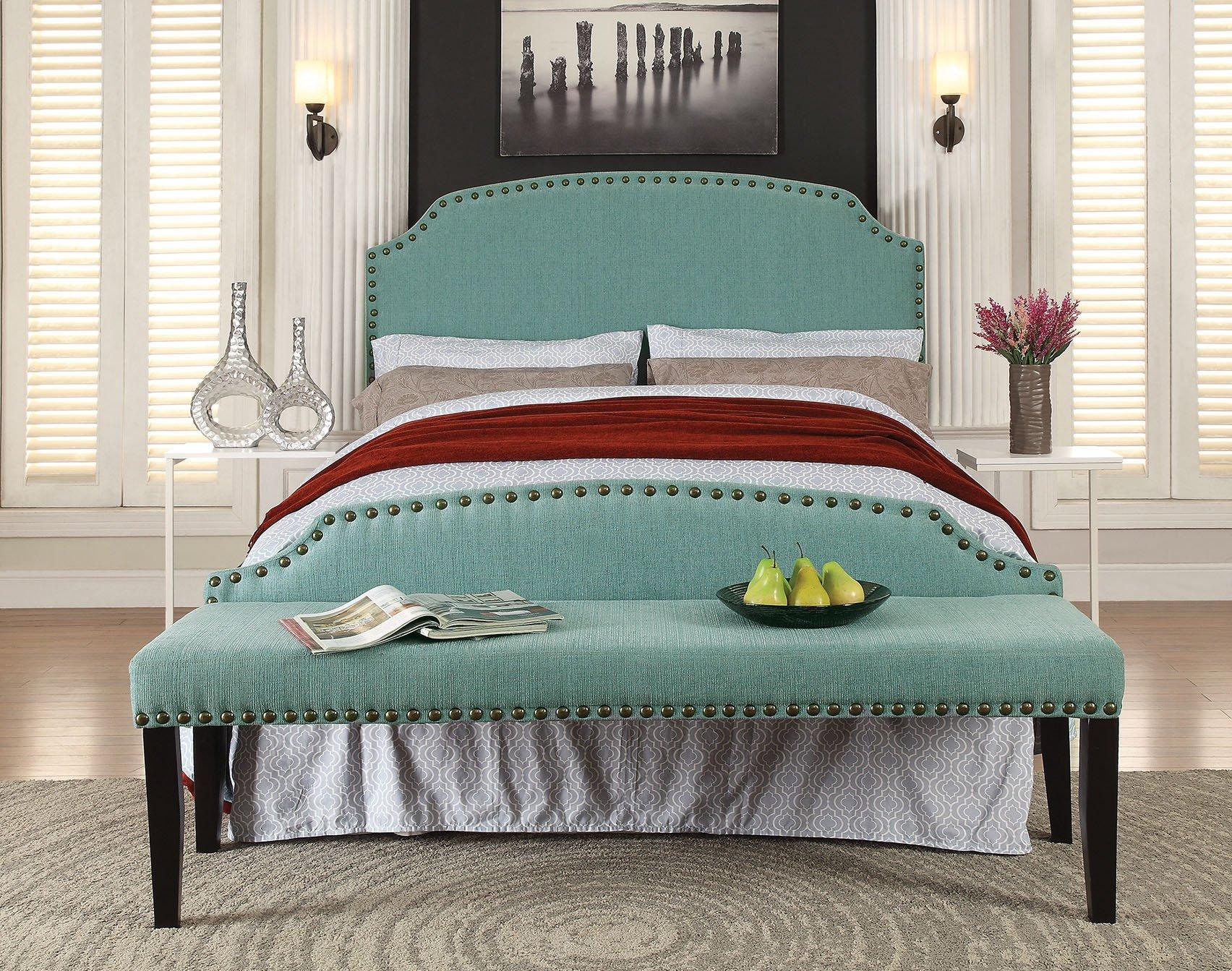 Furniture of America 2 Piece Heiden Modern Headboard with Bench Set, Full/Queen, Light Blue