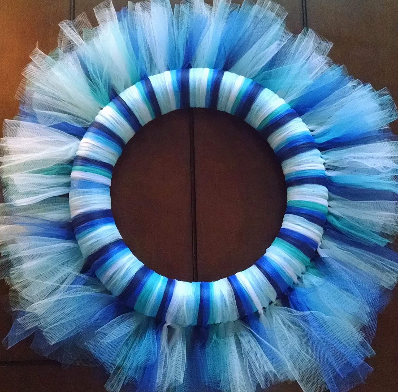 Amazon Com All Blues Tulle Wreath Handmade