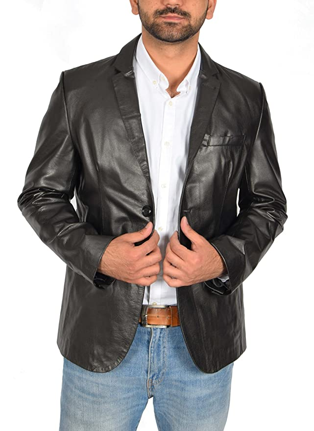 Amazon.com: A1 FASHION GOODS Mens Black Leather Blazer Jacket 2 Button Double Back Vent Lapel Collar Coat Burt: Clothing