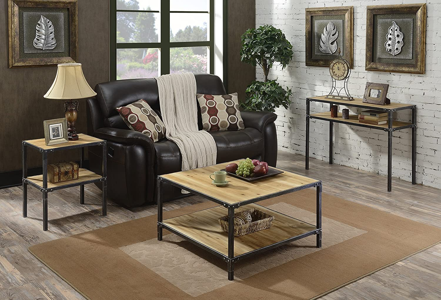 Convenience Concepts Laredo 2-Tier Console Table Natural and Black