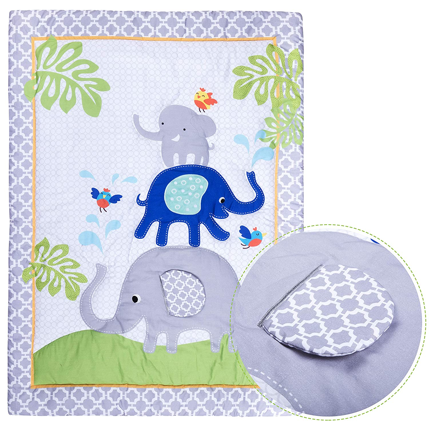 100% Cotton Premium Nursery Bedding: 6 Piece Baby Boy/Girl Elephant Crib Satz (Greyblue)