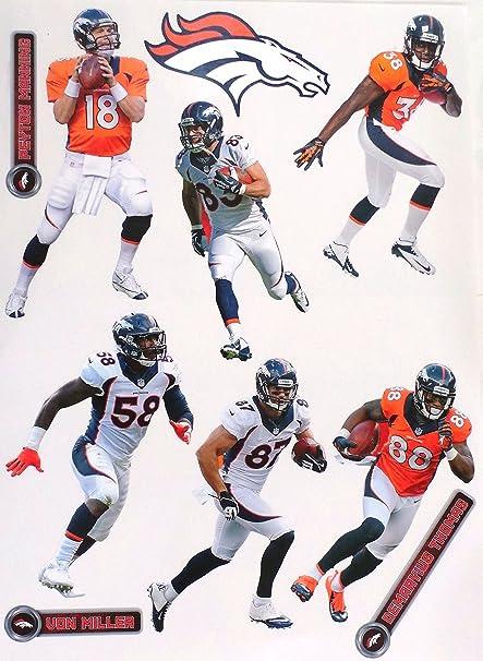 9428544d1b2 FATHEAD Denver Broncos Logo Team Set of 6 Official NFL Vinyl Wall Graphics  VON MILLER