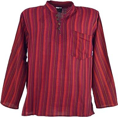 Guru-Shop, Camisa a Rayas Nepal Fisher Goa Camisa Hippie, Rojo, Algodón, Tamaño:46, Camisas de Hombre: Amazon.es: Ropa y accesorios