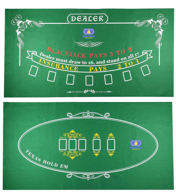 Game Room Heroes Tabletop Casino Felt for Texas Holdem Poker and Blackjack - Professional Grade Mat