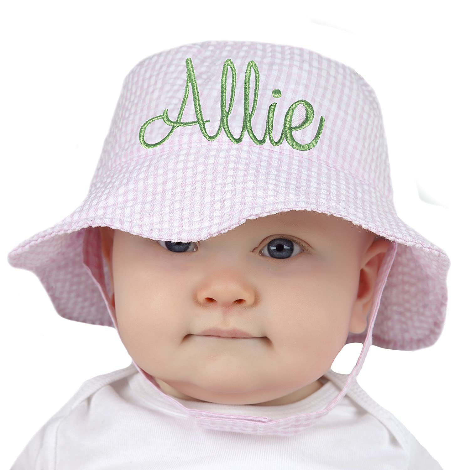 Amazon.com  Melondipity Pink   White Seersucker Personalized Baby Sun Hat   Clothing bddfd6d96f1