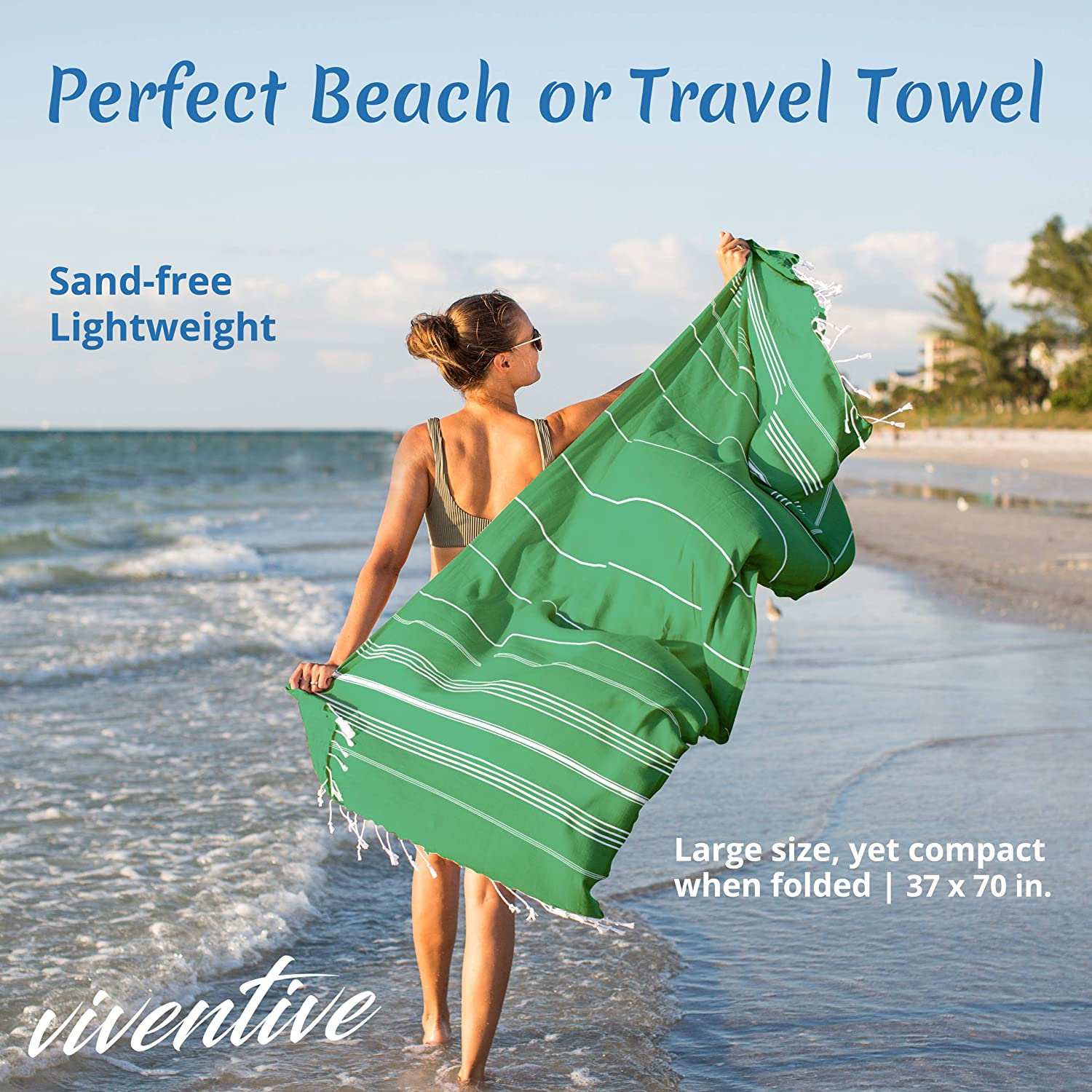 Yoga Travel and Throw Blanket Green Viventive Turkish Beach Towel 37 by 70 Inches Made of 100/% Cotton Sauna Ultra Soft and Absorbent Bath Quick Drying Peshtemal Hammam Towel for Beach