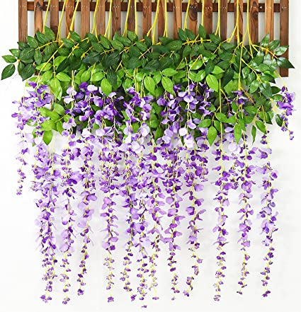 Amazon artiflr 8pcs artificial flowers silk wisteria vine ratta artiflr 8pcs artificial flowers silk wisteria vine ratta silk hanging flower wedding decor purple mightylinksfo