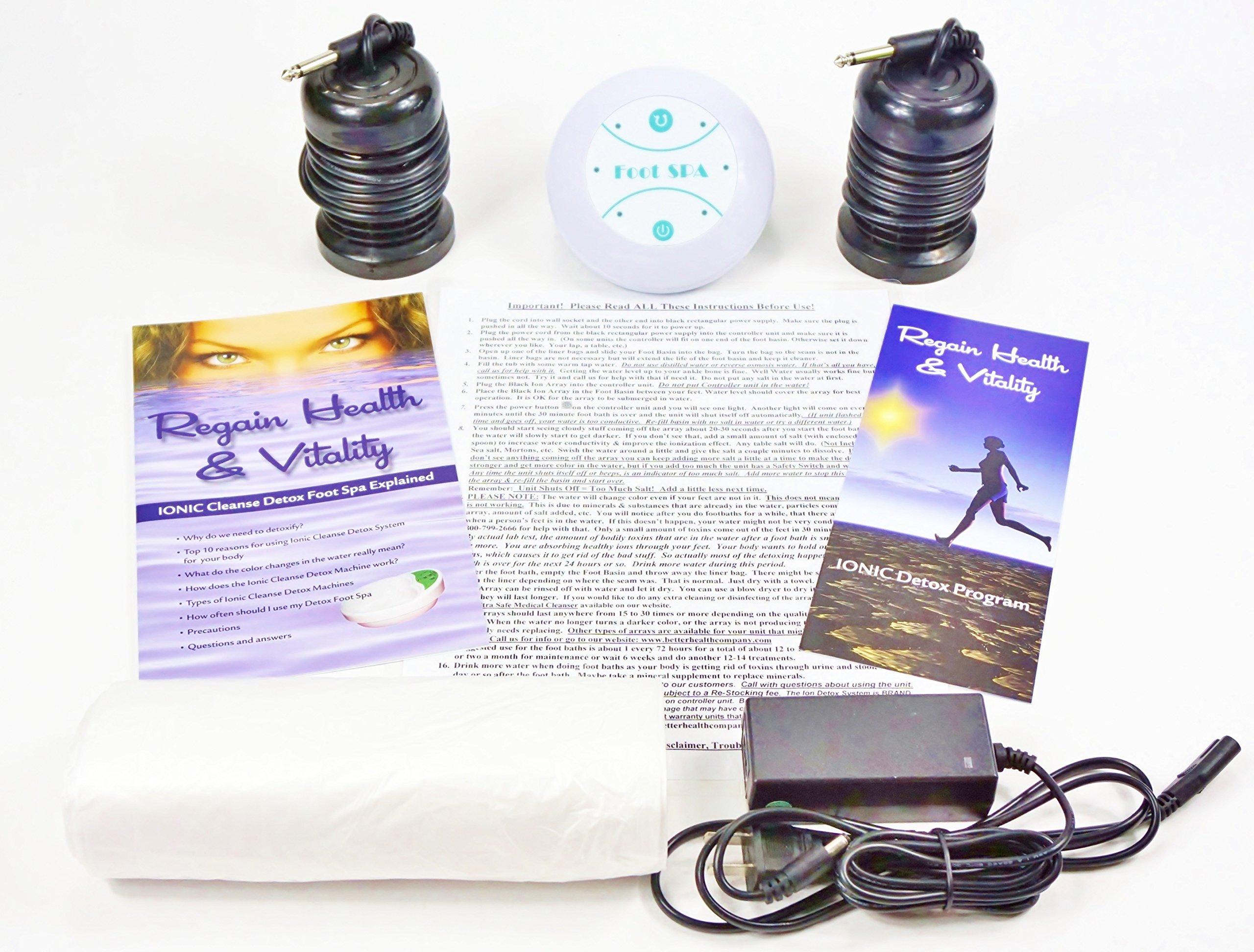 Ionic detox Foot Bath Spa Chi Cleanse Unit for Home Use. Best Home Foot Spa. Comes with Free Regain Healh & Vitality Booklet