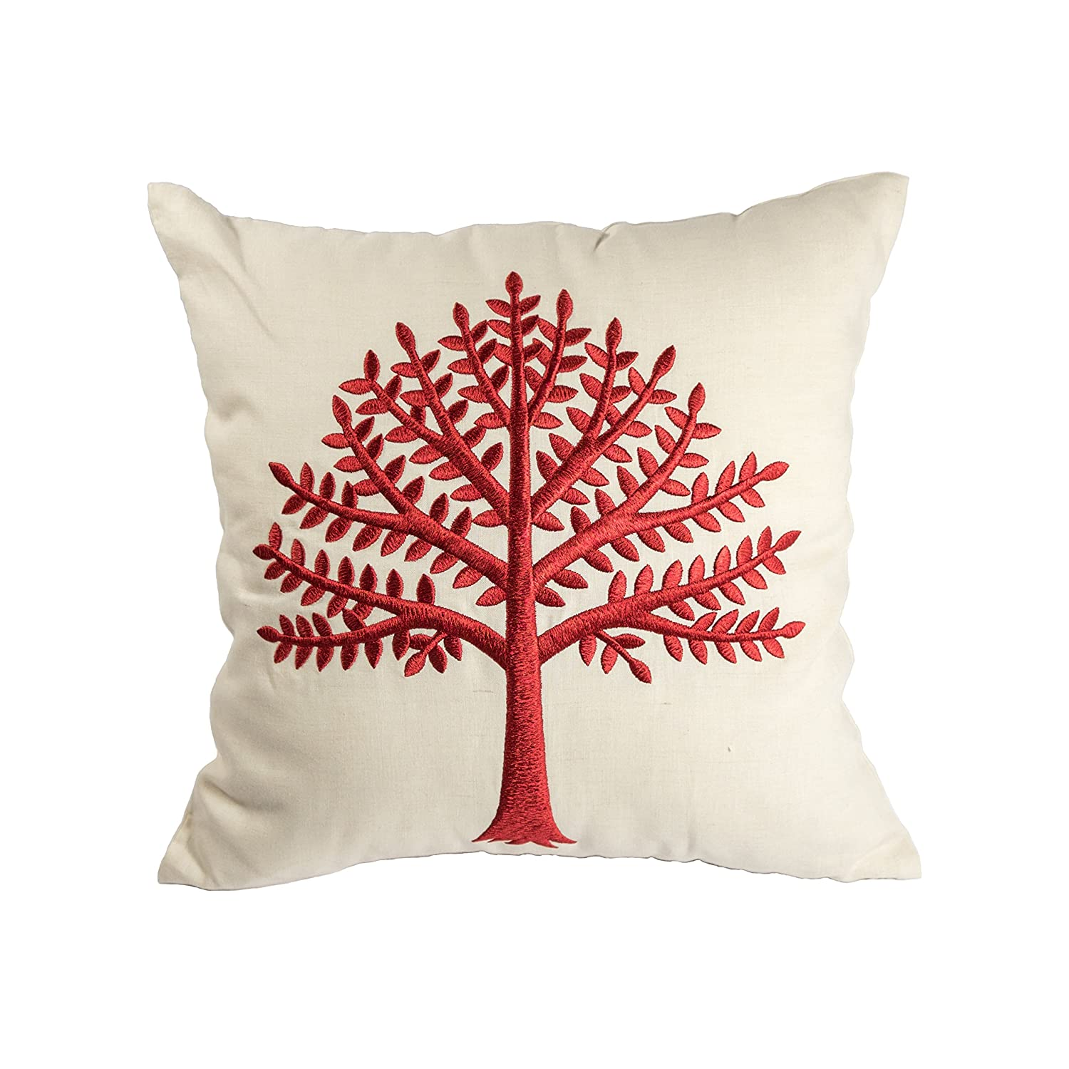 Tree of life pillow case red beige cotton linen embroidered cushion cover
