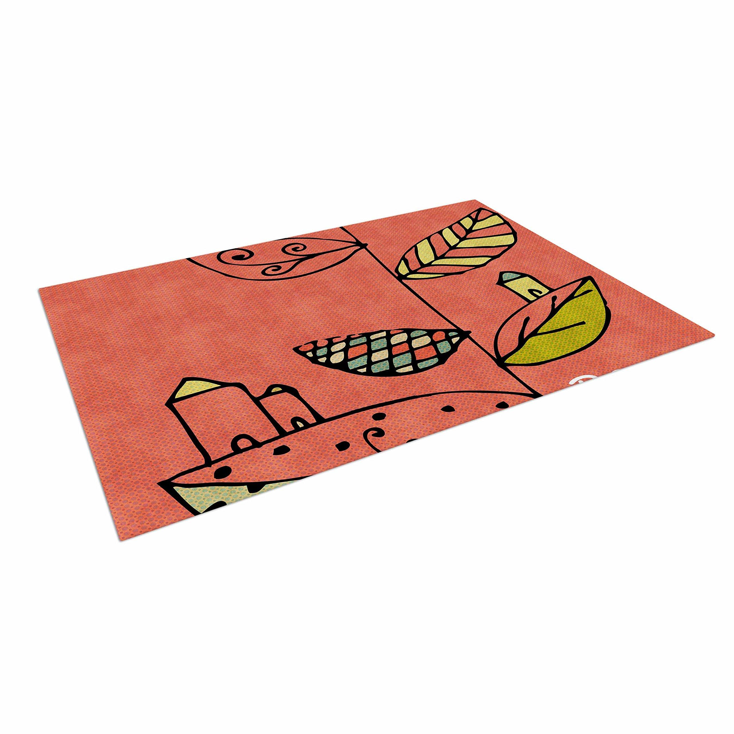 KESS InHouse Carina Povarchik ''Be You'' Coral Kids Outdoor Floor Mat, 4' x 5'