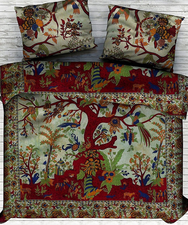 Exclusive Indian Bohemian Tree Life Duvet Cover Hippie Boho Mandala Doona Quilt Cover Size 80X82, Tapestry Reversible Doona Quilt Duvet Cover (Green) JANKI Creation