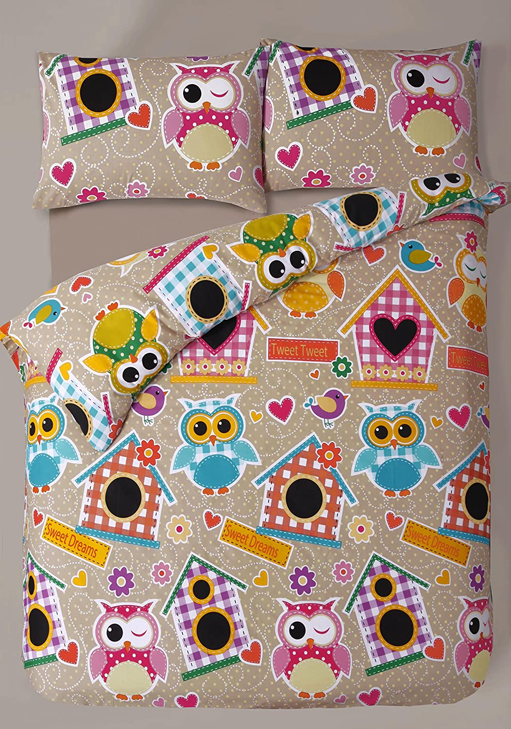 Single Bed Printed Multi Owl Tweet Duvet Cover & Pillowcase Bedding Set Ideal Home Interiors Ltd