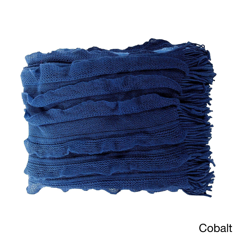 Single PieceコバルトアクリルWoven Throw、ソリッドデザイン、モダンとクラシックスタイル、暖かく、快適、平織り、軽量、100パーセントポリエステルアクリル素材、ネイビー、ブルー、ロイヤルブルー B01LXXZ2VP