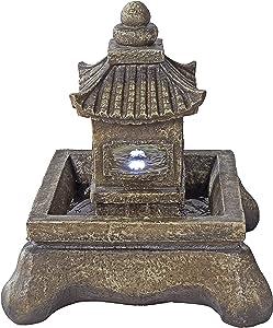 Asian Decor Water Fountain with LED Light - Mokoshi Pagoda Fountain - Outdoor Water Feature