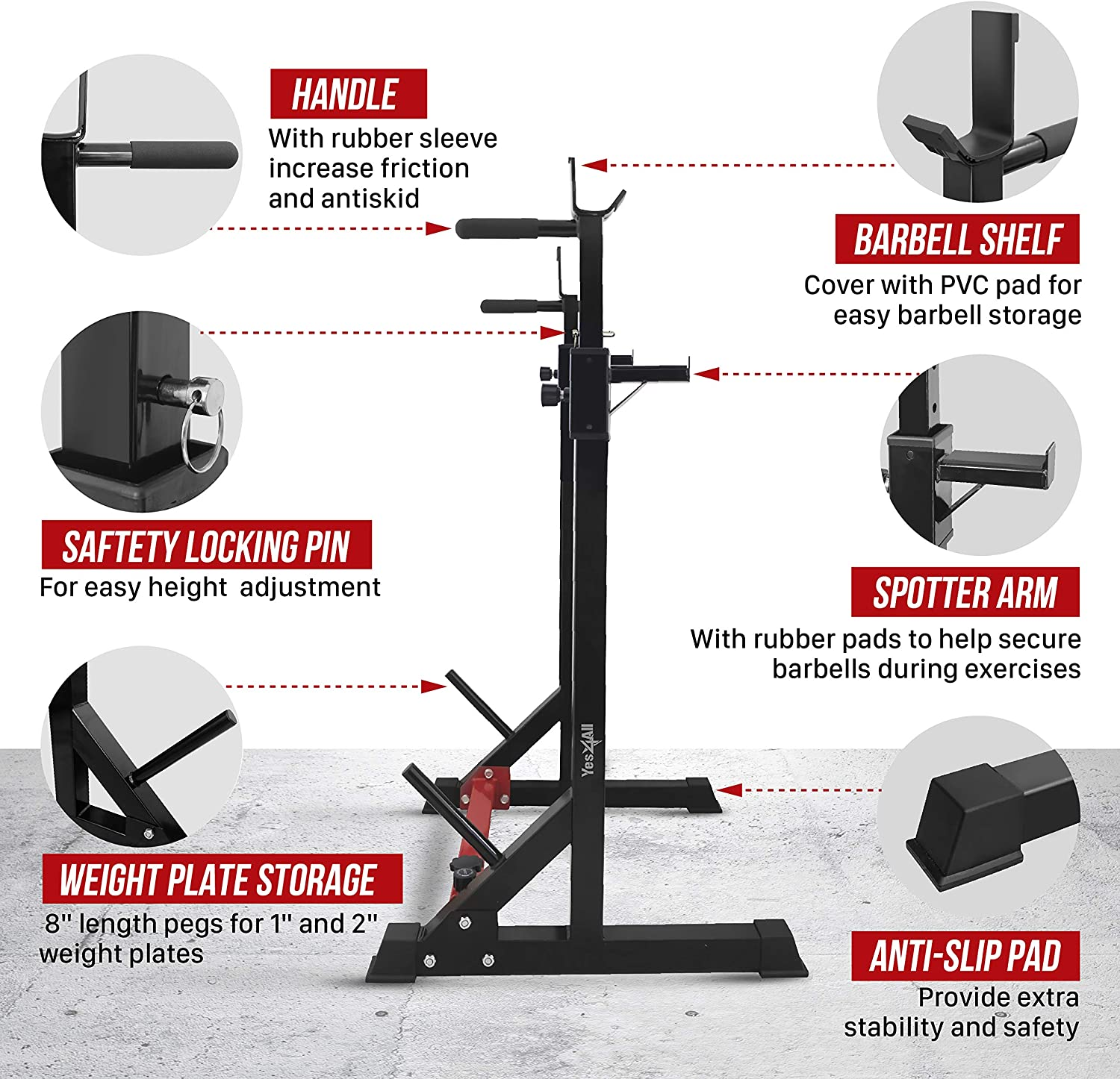 Standard and Premium Options Available Yes4All Adjustable Barbell Squat Rack