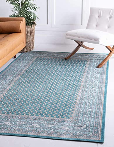 Unique Loom Williamsburg Collection Traditional Border Teal Area Rug 10 0 x 13 0