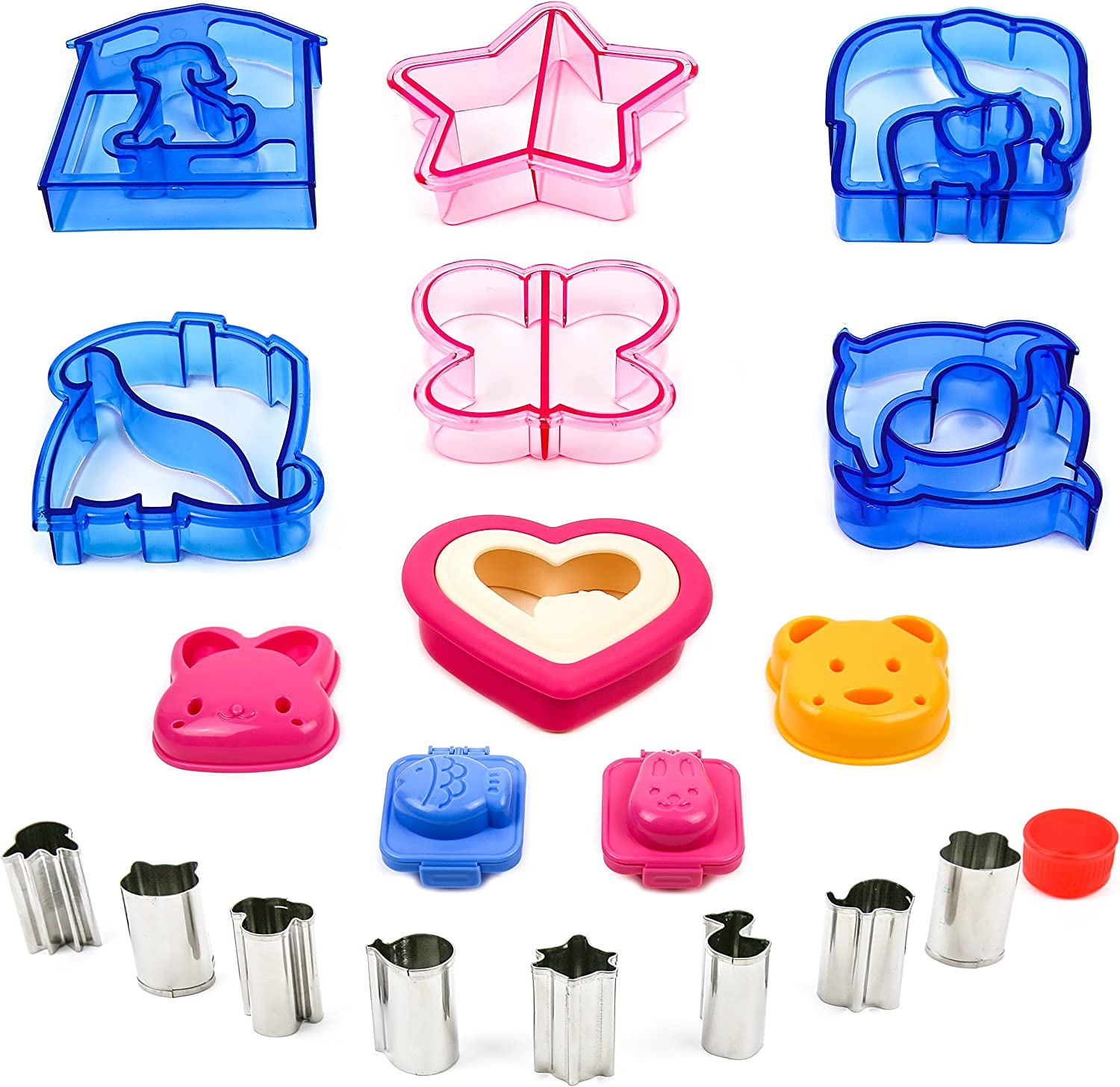 Sandwich Bread Vegetable Fruit Cutter Shape Set for Kids - Crust Cookie Cutters Shapes - Egg Sushi Rice Molds - Toast Sandwich Stamp - Accessories for Kids Food Making - Bento Lunch Box -19pcs by ZANN