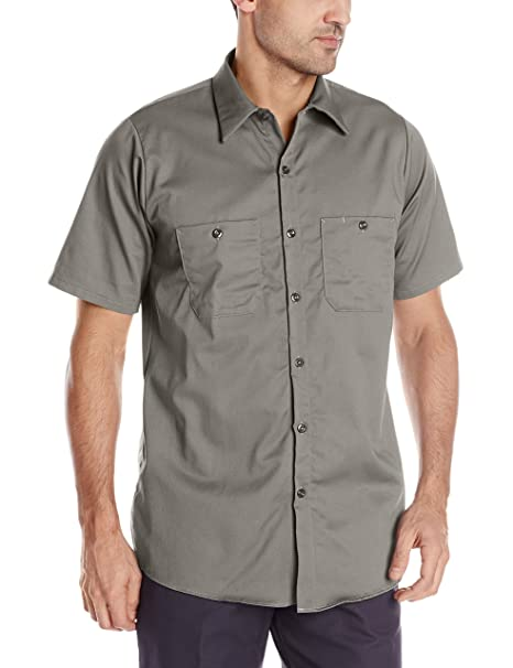 aa7302e0 Red Kap Men's Wrinkle Resistant Cotton Work Shirt, Graphite Grey, Small