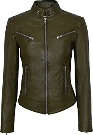 Smart Range Ladies Speed SR01 Commando Green Cool Retro Biker Style Fitted Motorcycle Leather Jacket Real Genuine Lambskin