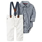 Carter's Baby Boys' Long Sleeve Checkered Shirt and Suspender Pants 9 Months