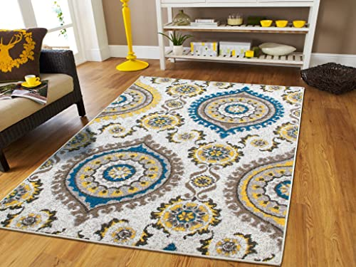 Luxury Rugs Contemporary Rugs 5×7 Grey Cream Beige Yellow Blue Modern Rugs For Living Room 5×8 Turquoise Color Washable Rugs Office Kitchen Ideal Carpet, 5×8 Rug