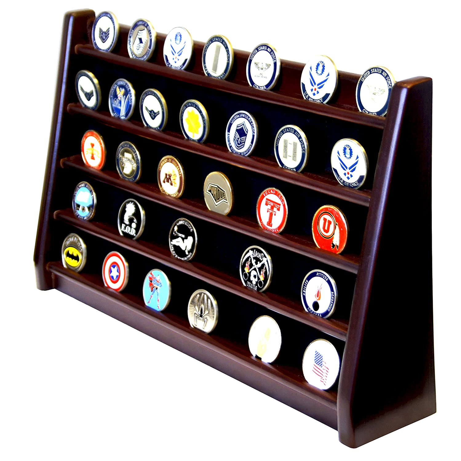 DECOMIL – 5 Rows Shelf Challenge Coin Holder Display Casino Chips Holder Solid Wood – Cherry Finish
