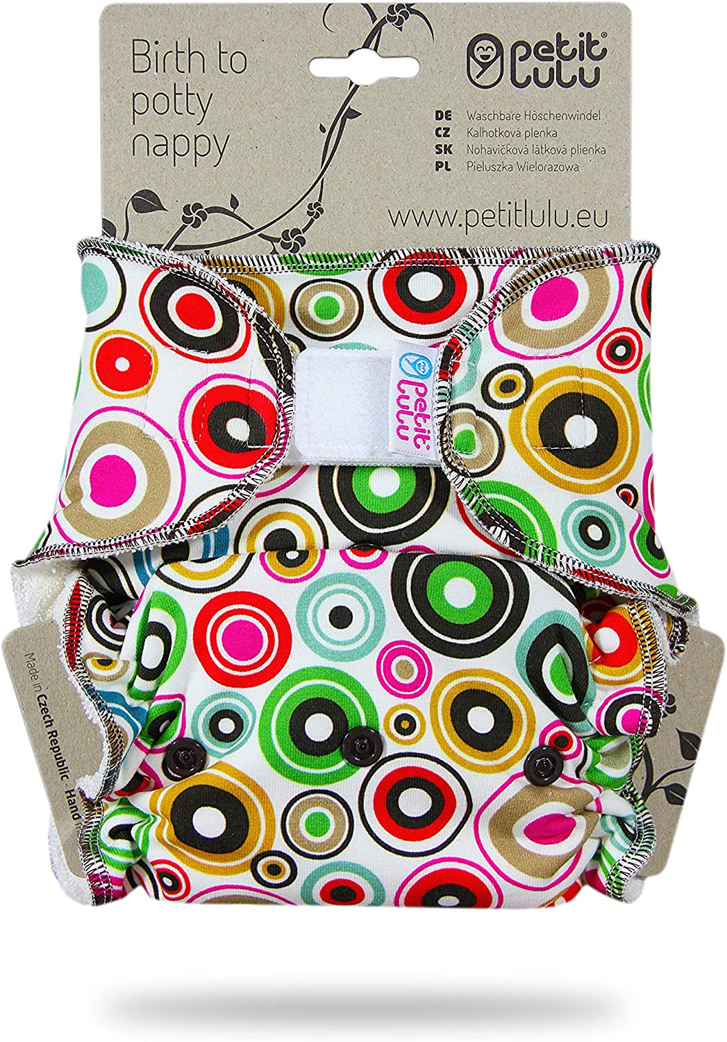 Hook /& Loop Made in Europe Petit Lulu Bamboo Fitted One Size Diaper Polar Bear Reusable /& Washable