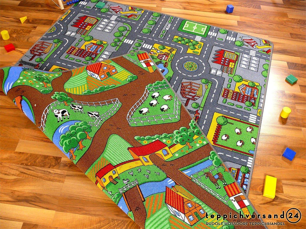 Lernen und Spielen Straßenteppich Beidseitig mit zwei Straßenlandschaften in 4 Größen ab EUR 39,90, Größe 160x240 cm